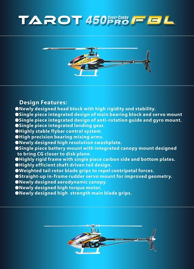 Tarot 450 PRO V2 FBL Flybarless RC Helicopter KIT - Price - 126 60
