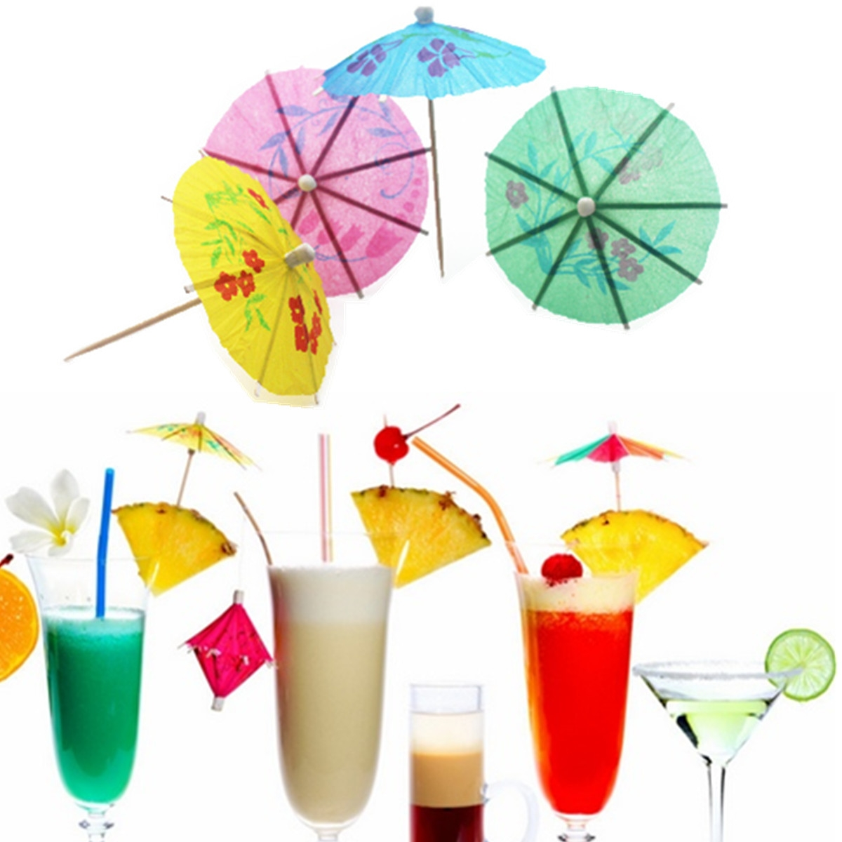 20PCS Party Paper Parasol Umbrellas Toothpick Wedding Luau Cocktail Drinks