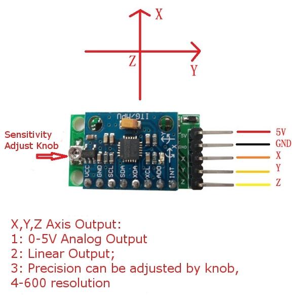 DH-6050 3 Axis Gravity Sensor Accelerometer Module MPU6050