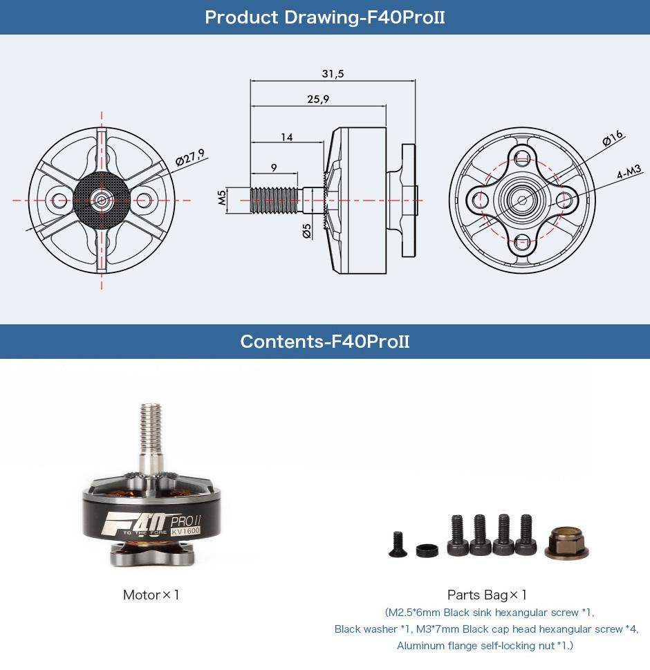 T Motor F40 Pro Ii 1600kv 2400kv 2600kv 3 4s Brushless For Rc Brushlessmotorinsidediagram