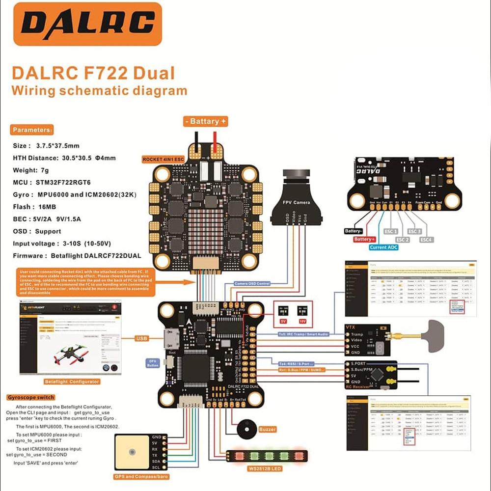 Dalrc F722 Dual Stm32f722rgt6 F7 Flight Controller Rocket 50a Esc Wiring Diagram 3 6s Blheli 32 Dshot1200